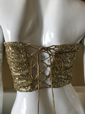 Gold sequins strapless blouse