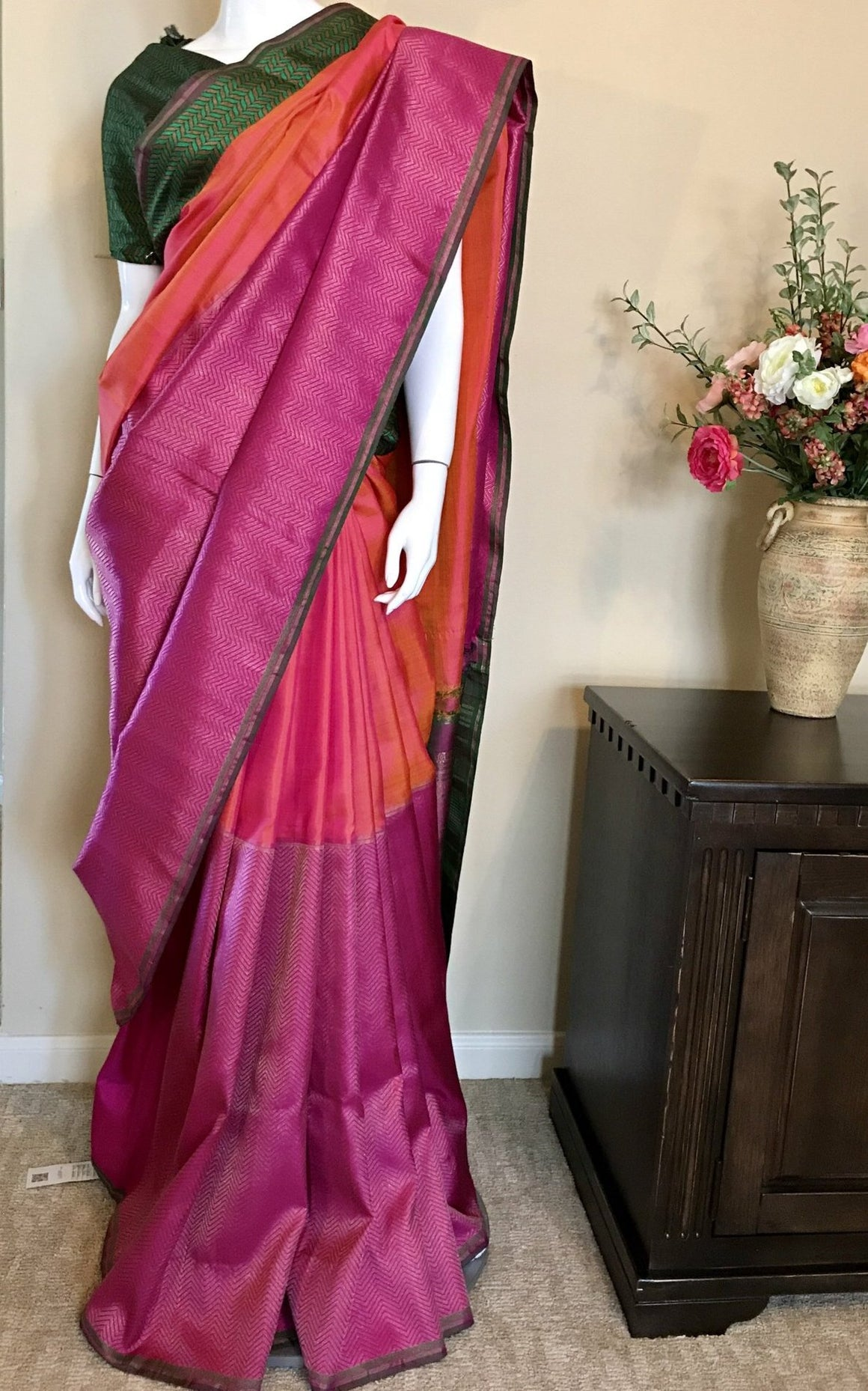 Pink orange Kanjivaram silk saree
