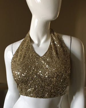 Gold sequins halter