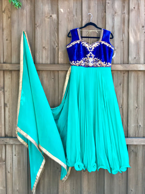 Teal Green Royal Blue anarkali