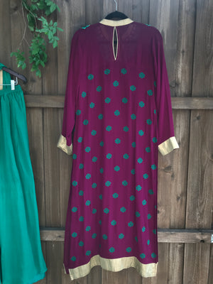 Magenta teal kurta set