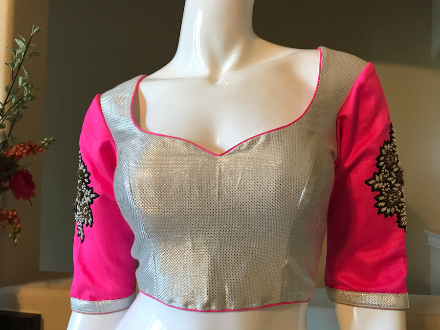 Silver fuchsia embroidered blouse