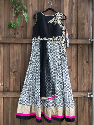 Black and white printed anarkali
