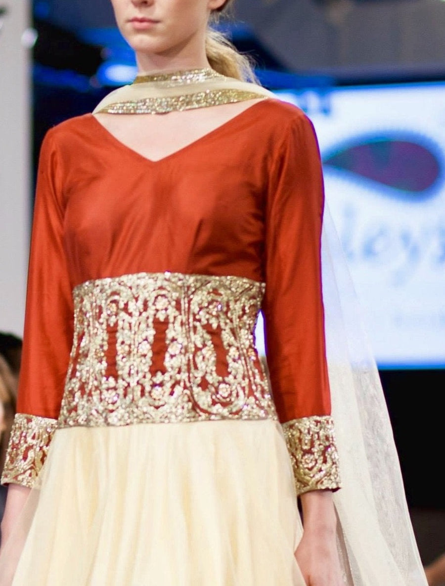 Cream Red Anarkali