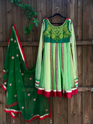 Lime Green Red Anarkali