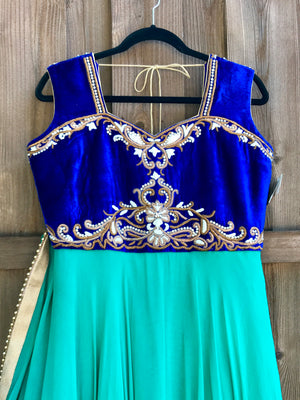 Teal Blue Anarkali