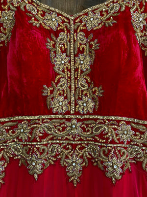 Red Anarkali Gown