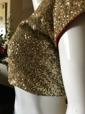 Gold sequins blouse with red trim