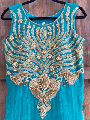 Teal Gold Gown