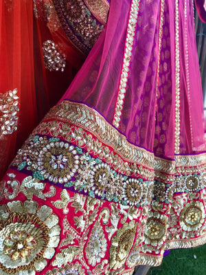 Pink Purple Orange Lehenga