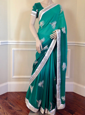 Teal green ombré saree