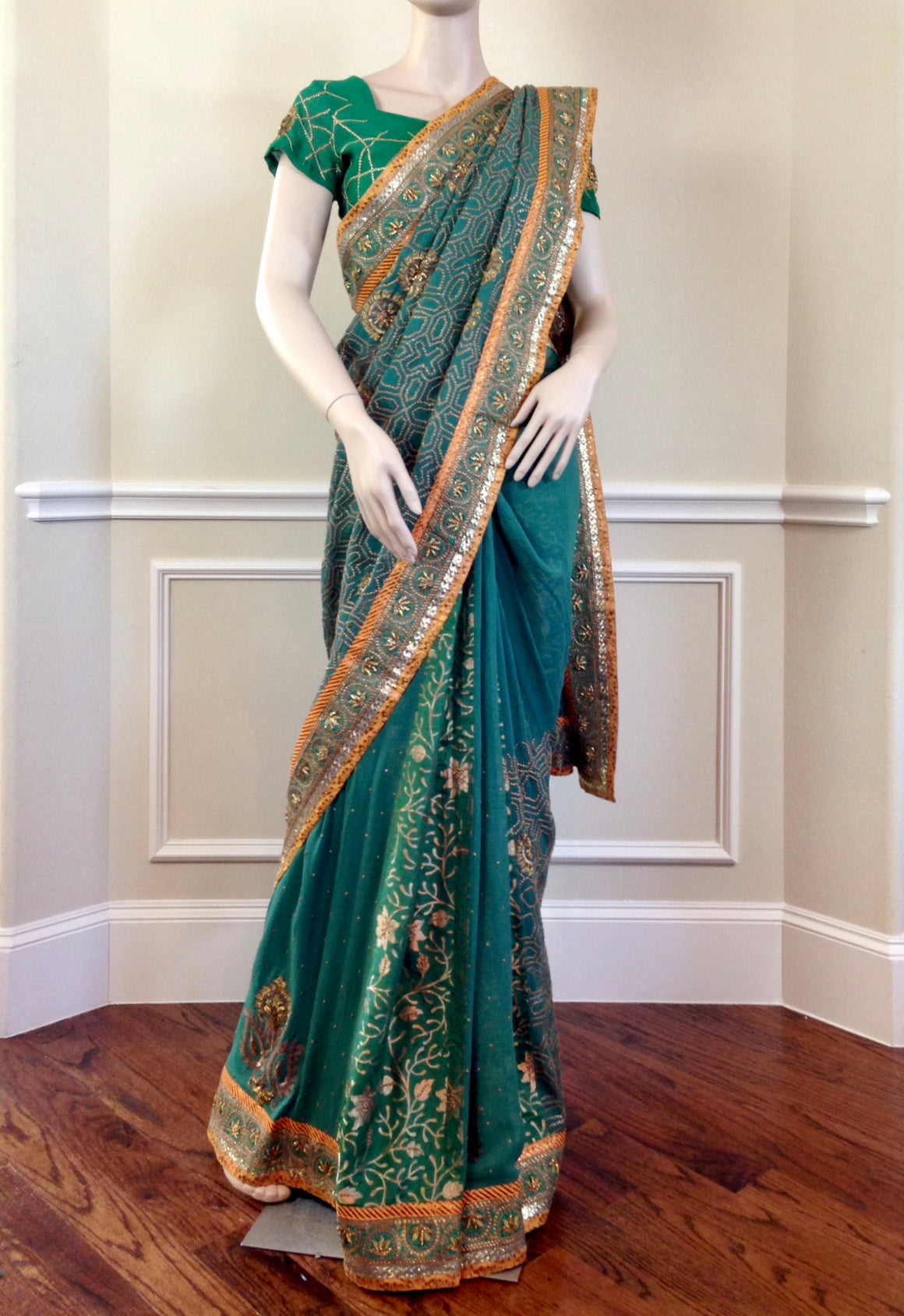 Evergreen gold saree