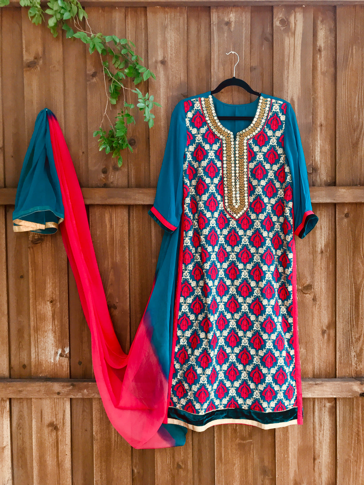 Teal georgette embroidered kurta