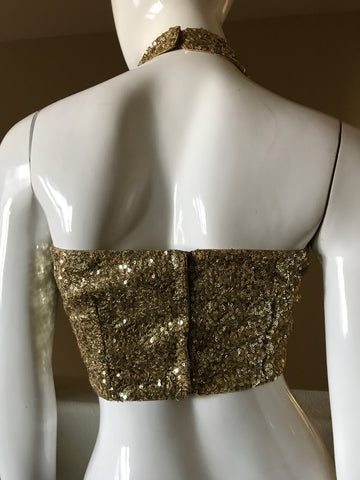 Gold sequins halter blouse