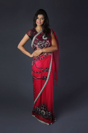 Pink Black Saree