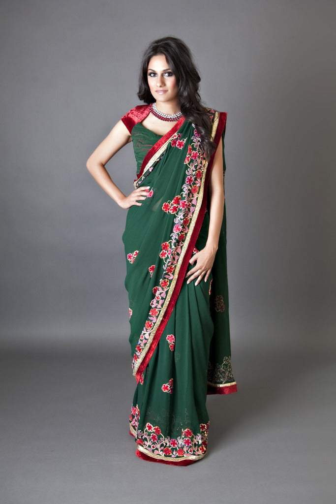 Green Red  Saree