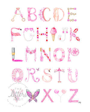 Watercolor Alphabet print featuring letters in shades of pink representing different objects inspired by the 21st-Century Girly-Girl
