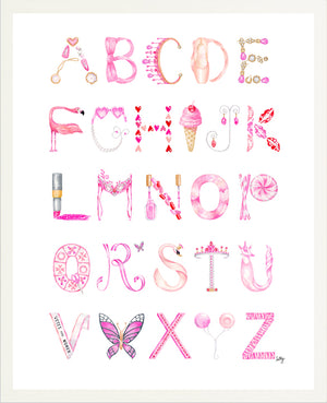 Watercolor Alphabet print in white frame, featuring letters in shades of pink representing different objects inspired by the 21st-Century Girly-Girl