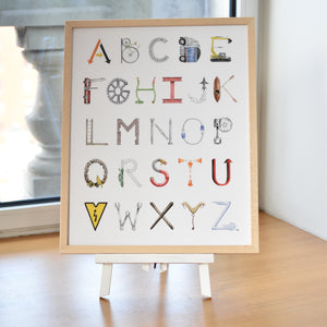 Construction Alphabet with Blonde Frame