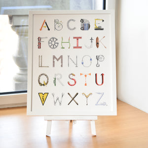 Construction Alphabet with White Frame