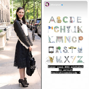 "Jill Kargman poses next to her Instagram caption: ""Super cool NYC alphabet by artist @sallykingmcbride!"""