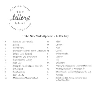 Letter Key for the New York City Alphabet