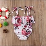 Spark Sisters Floral Ruffled Swimsuit Vintage affordable childrens clothing