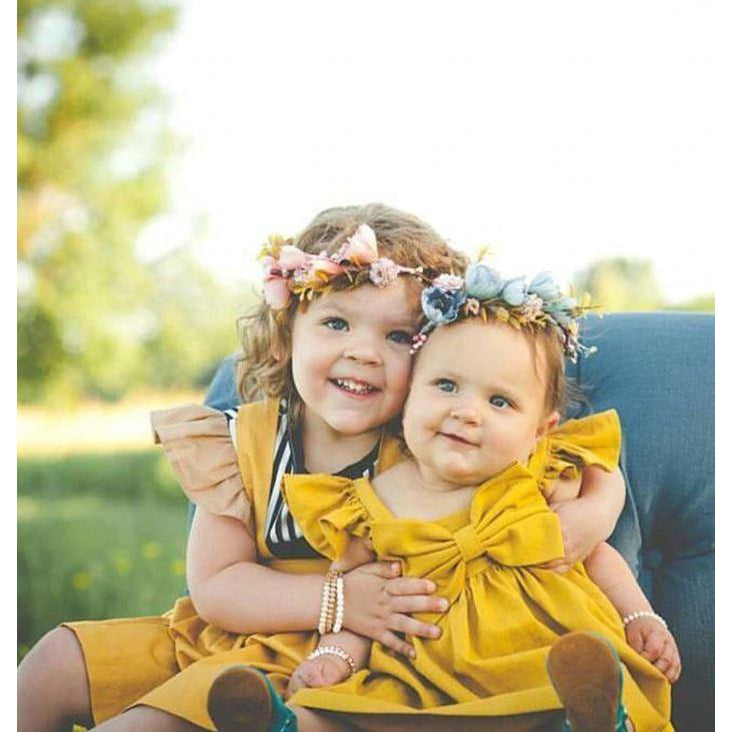 Spark Sisters two girls wearing Bow Dress mustard Ruffle Sleeves affordable girls fashion