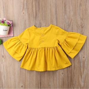 Spark Sisters Butterfly Sleeve Swing Top mustard boho Vintage girls fashion