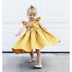 Spark Sisters Bow Dress Ruffle Sleeves affordable girls fashion mustard and pink