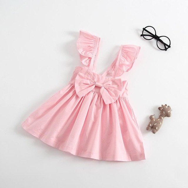 Spark Sisters Bow Dress Ruffle Sleeves affordable girls fashion pink
