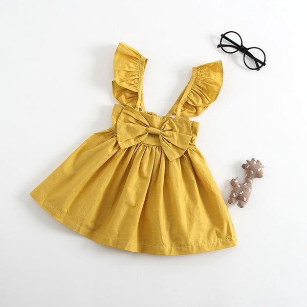 Spark Sisters Bow Dress Ruffle Sleeves affordable girls fashion mustard