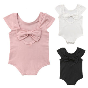 Spark Sisters Romper with Scoop Back & Bow Black pink and White trendy baby girl clothing