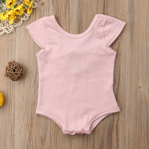 Spark Sisters Romper with Scoop Back & Bow pink trendy baby girl clothing