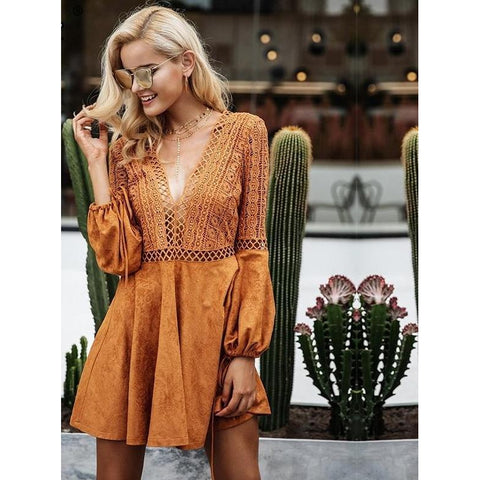 Spark Sisters Lace Suede Flared Sleeve Dress Tan trendy boho womens fashion