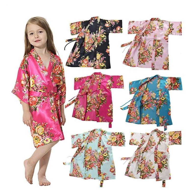 Spark Sisters girls satin kimono gown silk floral vintage multiple colours tie waist robe dressing gown