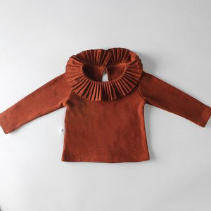 Spark Sisters Pleated Collar Long Sleeve Rust Boho childrens fashion