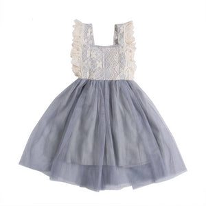 Lace Sleeve Smoky Blue Tulle Dress | Sabelle Boutique