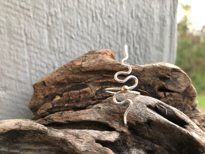 Gold and silver snake ring