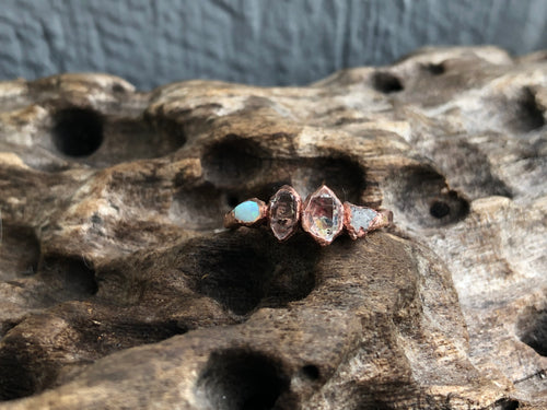 Opal and pakimer quartz ring