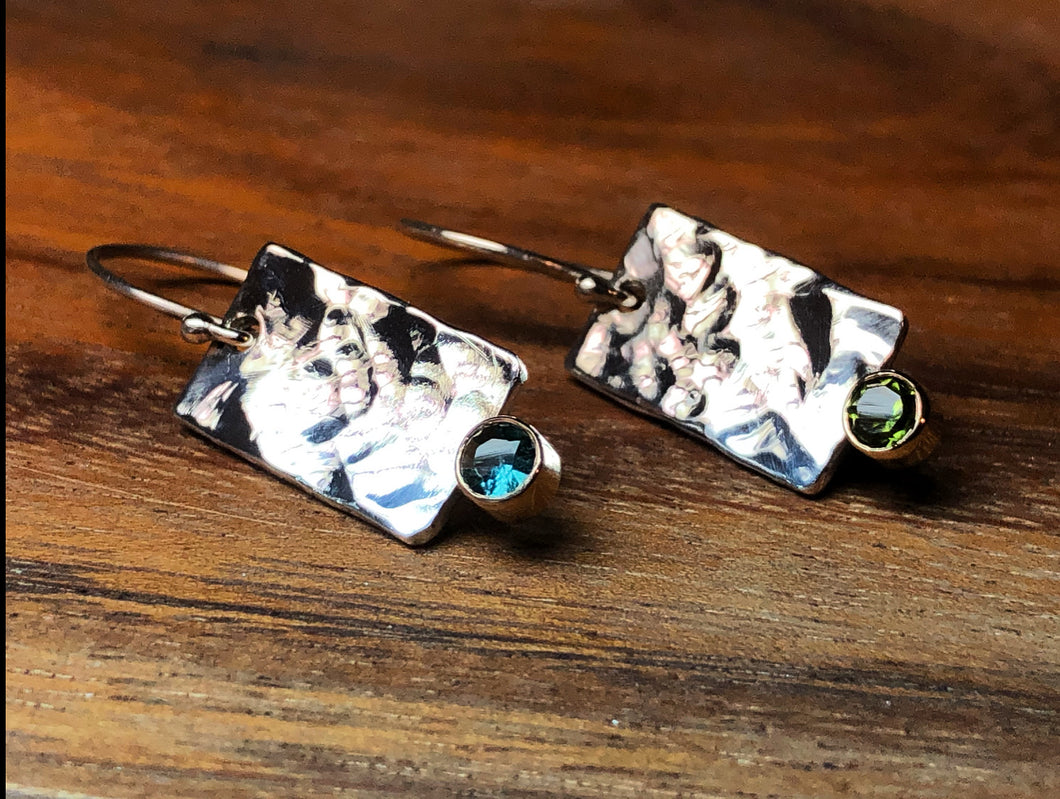 Two-tone 14ky gold and sterling silver earrings