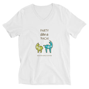 Party like a 'Paca ~ Unisex Short Sleeve V-Neck T-Shirt