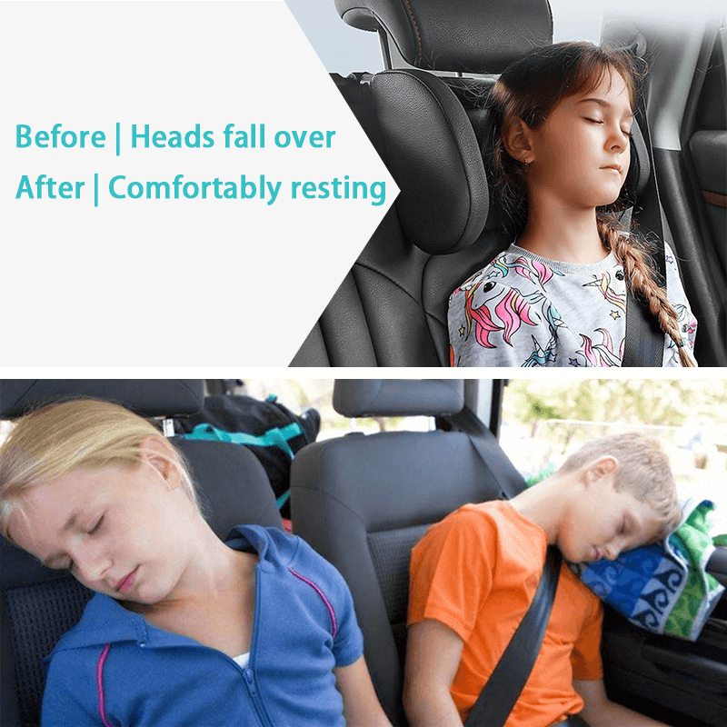 Black Adjustable Car Seat Head Support,Sleeping Head and Neck Support  Pillow,Suitable for Kids or