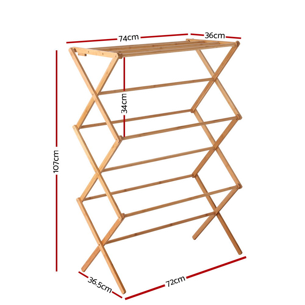 Foldable Bamboo Clothes Drying Rack - FREE SHIPPING