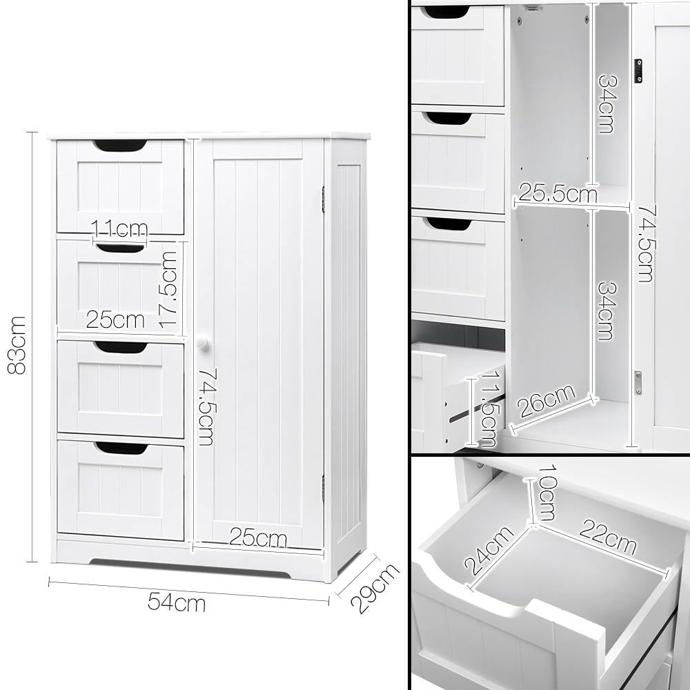Bathroom Tallboy Storage Cabinet White - FREE SHIPPING