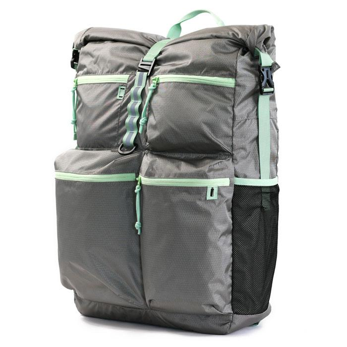 Pillowpak Bag in Cool Grey with Mint Trim