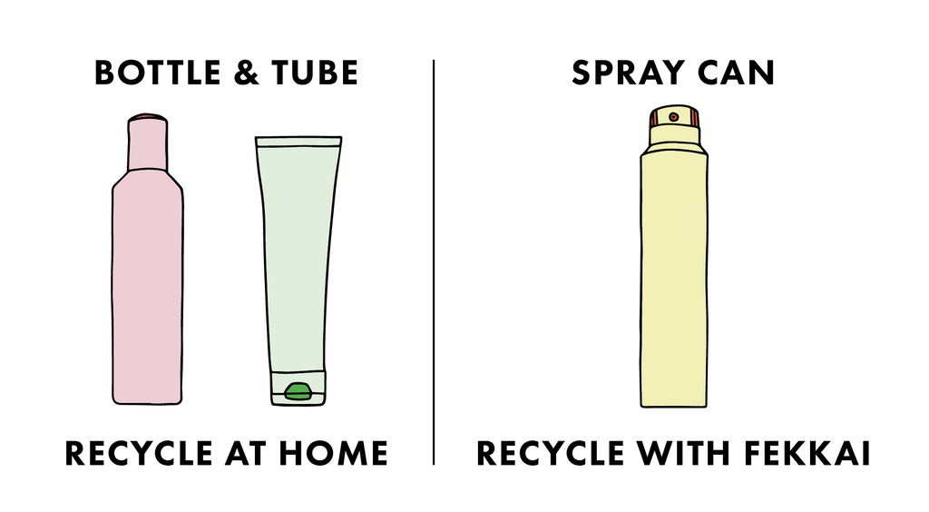 drawing of shampoo spray and conditioner