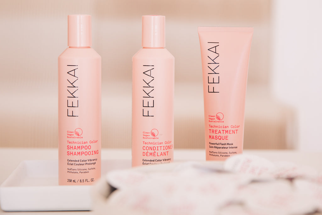 FEKKAI Spring Cleansing Your Beauty Routine Technician Color Collection Pink Bottles of Shampoo, Conditioner, and Treatment Masque