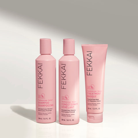 Three bottles of products from fekkai technician color line