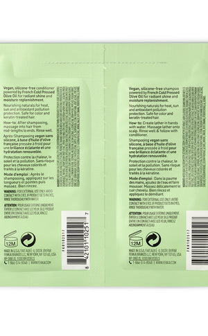 green fekkai brilliant gloss shampoo and conditioner sample packet back